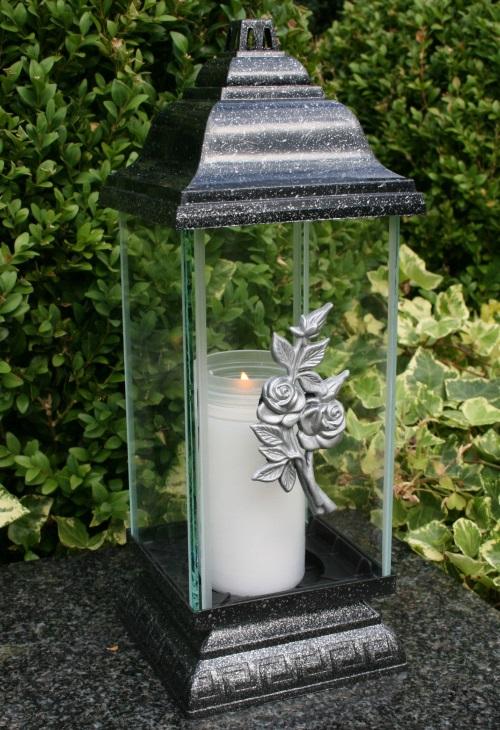 grablaterne grablampe grableuchte silber grabschmuck rose inkl grablicht kerze ebay. Black Bedroom Furniture Sets. Home Design Ideas