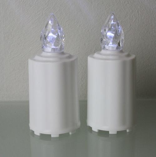 2 led elektro grablicht kerzen weiss grablampe grabschmuck batterien grablichter ebay. Black Bedroom Furniture Sets. Home Design Ideas